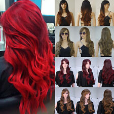 Glueless Heat Resistant Synthetic Hair Full Wig Thick Ombre Two Tone Costume Wig