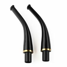 New 2pcs Ebonite vulcanizates Copper ring mouthpieces Stem Tobacco Smoking pipe