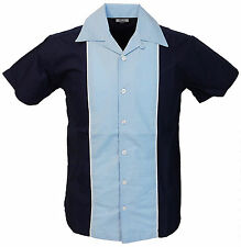 Relco Mens Rockabilly Retro Bowling Shirt in Blue NEW Short Sleeve Vintage 50s