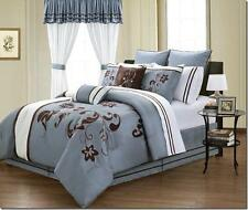 VIOLA 24 PIECE EMBRODIERY ROOM ENSEMBLE ELEGANT LOOK COMFORTER SHEET CURTAIN SET