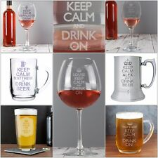 Personalised Keep Calm Glasses, Tankard, Glass, Wine, Pint, Beer, Birthday Gifts