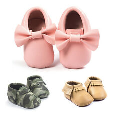 Baby Girl Boy Faux Leather Crib Shoes Infant Toddler Soft Sole Prewalker Slipper