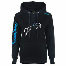 WOMENS Black Royal Blue Equestrian horse riding Hoodie Show jumping Personalised