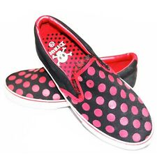 Slip on gothique, rock, emo DRAVEN POLKAHOLIC Black Red