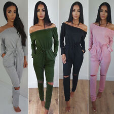 Womens Off Shoulder Long Sleeve Rip Knee Lounge Wear Tracksuit Playsuit Jumpsuit