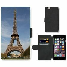 Phone Card Slot PU Leather Wallet Case For Apple iPhone Eiffel Tower in autumn
