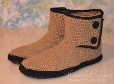 handmade men's crochet slippers, leather sole, slipper boots, knit house shoes