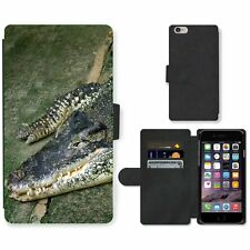 Phone Card Slot PU Leather Wallet Case For Apple iPhone Crocodile on the floor