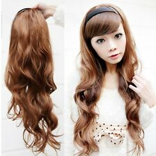 70cm Long Curly Body Wavy 3/4 Wig With Headband Black Brown Daily Costume Hair