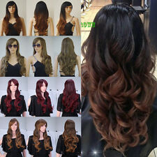 US Ship daily costume full head wig real thick straight curly synthetic wigs D87