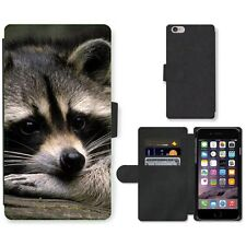Phone Card Slot PU Leather Wallet Case For Apple iPhone Romantic racoon dreaming