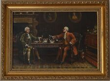 Fine Painting 18th Century Gentlemen at a Dinner Oil on Canvas Signed