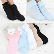 Lovely Ladies Socks Girl Ankle Lace Sweet Frilly Cute Ruffle