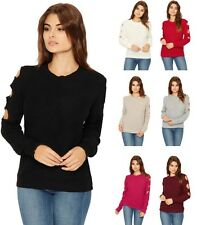 WOMENS LADIES LONG SLEEVE RIB KNITTED CUT OUT COLD SHOULDER JUMPER TOP NEW 8-14