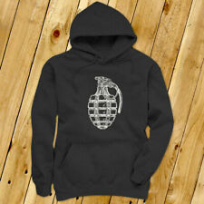 VINTAGE GRENADE ARMY MILITARY SPECIAL FORCES BOMB Mens Charcoal Hoodie