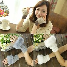 Winter Hand Warmer Mittens Wool Fingerless Gloves Wrist Faux Rabbit Fur