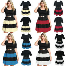 Plus Size Stripes Belted Skater Sexy Slim Mini Office Formal Party Evening Dress