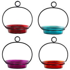 Hanging Colorful Tempered Glass Bird Bath or Feeder Birds Garden Decor