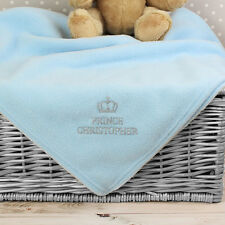 Super Cute Pink / Blue Prince Princess Baby Personalised Blanket - New Born Gift