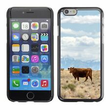 Hard Phone Case Cover Skin For Apple iPhone Brown cow in dry grass f