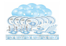 BLUE UMBRELLAPHANTS - Baby Shower Boys Party Pack Plates Cups Napkins Banner etc