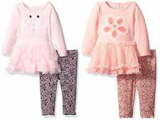 Baby Girls NANNETTE Knit Tutu Tunic Mesh Dress Legging Set Outfit Pink Coral New
