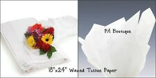 "WHITE WAXED Tissue Paper Floral Bouquet Wrapping 18""x24"" Large Sheets"