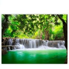 """Brands Canvas picture """"Deep Forest Waterfalls"""" ! Classic (4:3) ! Waterfall Trees"""