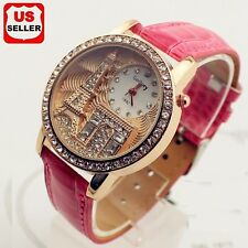 Fashion Women Lady Eiffel Tower Crystal Dial Leather Band Quartz Chic Wristwatch