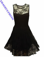 LADIES BLACK FLORAL LACE SKATER SLEEVELESS BODYCON NET FRILL MINI DRESS TOP 6-26