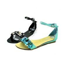 ladies flat sandals with beaded front and ankle strap