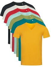 Mans Mens Plain Organic Cotton Vee V-Neck Tee T-Shirt TShirt S-XXL