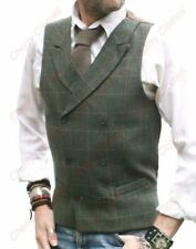 MENS WOOL BLEND GREEN TWEED DOUBLE BREASTED CHECK WAISTCOAT VEST - TAILORED FIT