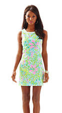 New Lilly Pulitzer Mila Lace Detail Shift Cotton Dress in Coconut Jungle 12