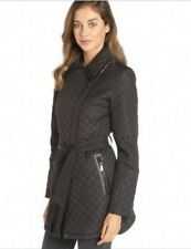 New DKNY Women's Brown Quilted 'Quinn' Belted Trench Size M L