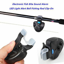 Black Electronic LED Light Fish Bite Sound Alarm Bell Clip On Fishing Rod New~EG