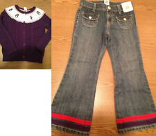 NWT Gymboree Winter Penguin 5 yoke purple cable cardigan Sweater & Jeans outfit
