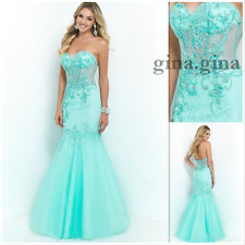 Elegant Mint Green Mermaid Prom Dresses Lace Tulle Long Evening Party Gown Dress
