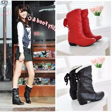 Comfort Womens PU Suede Warm Snow Boots Round Toe Lace Up Mid-Calf Boots C726