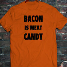 BACON IS MEAT CANDY BREAKFAST FUNNY HUMOR FOOD Mens Orange T-Shirt