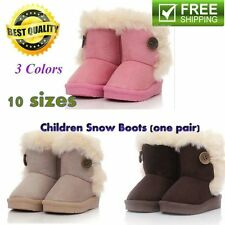 Children Non Slipping Fur Winter Girls Boy Kids Thicken Warm Shoes Snow Boots CA
