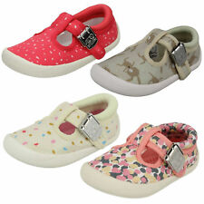 INFANTS GIRLS CLARKS BUCKLE T BAR CASUAL CANVAS DOODLES SUMMER SHOES CHOC CAKE