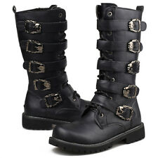 Mens Punk Rock Goth Band Lace Up Buckle Belt Zip Boots Motercycle Riding Shoes