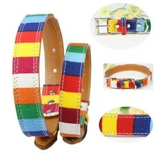 Small Pet Dog Adjustable Canvas Leather Puppy Cat Collar Neck Buckle Strap S-XXL