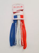 Girls Headbands Red White Blue (6) w/ Clips Elastic Hair Band New