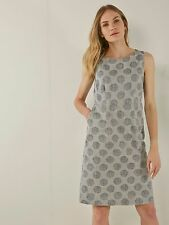 WHITE STUFF Linen Spot Shift Dress Lined Pockets RRP £65 UK 6 10 12 14 16 18