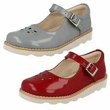 GIRLS CLARKS INFANT LEATHER BUCKLE MARY JANE BAR PARTY PATENT SHOES CROWN POSY