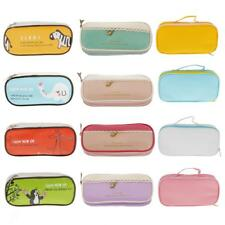 Cute PU Zipper Bag Pouch Pen Cool Pencil Case Girls Stationery Gift
