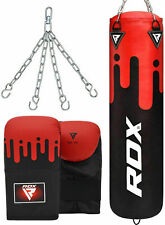 RDX Punching Bag Kick Boxing Gloves MMA Unfilled Punch Leather Chain Training