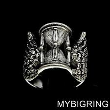 STERLING SILVER MEDIEVAL RING ANCIENT HOUR GLASS SYMBOL FOR FLYING TIME ANY SIZE